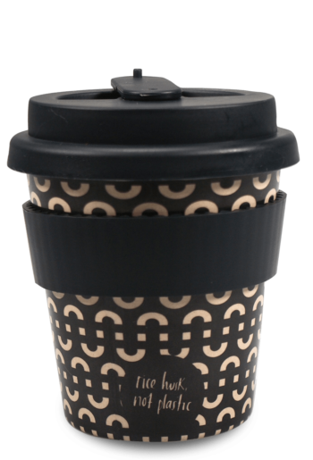 rice husk, not plastic reusable coffee cup with white background