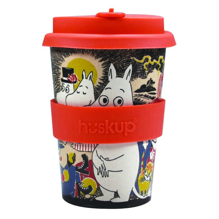 Moomin front of the cup with colourful characters and a red lid and a huskup heat resistant band