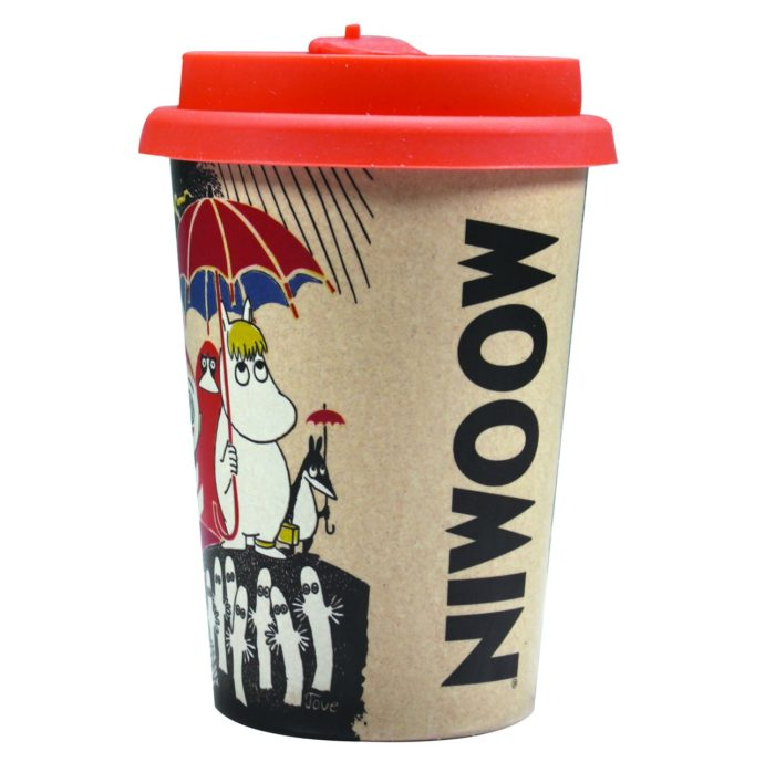 Moomin back of the cup with colourful characters, The word MOOMIN and and a red lid