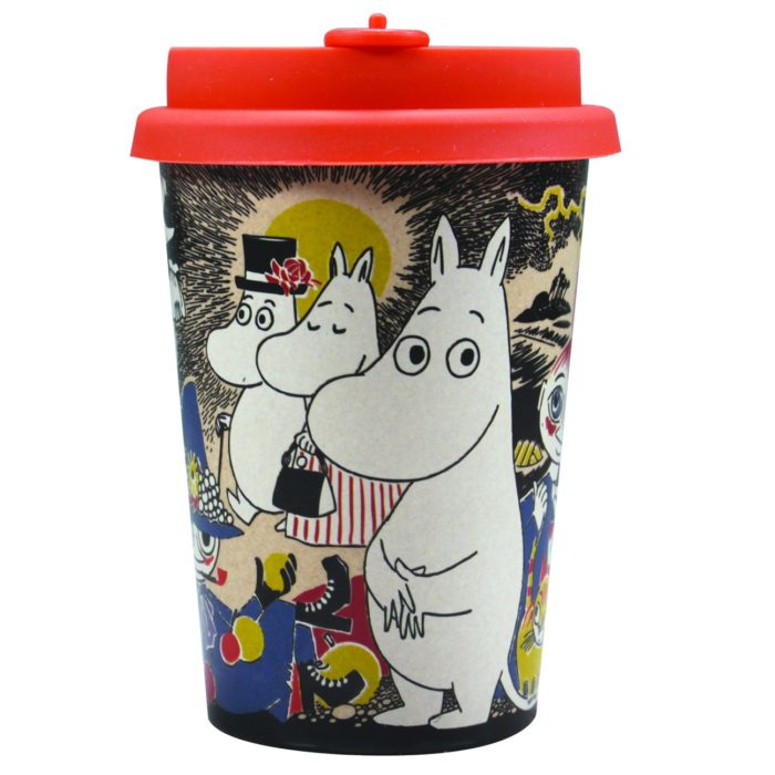 Moomin front of the cup with colourful characters and a red lid