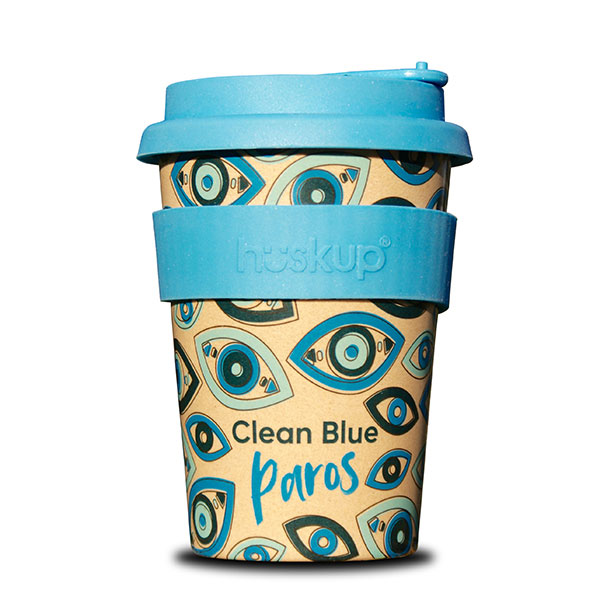 "Product image with white background. Coffee cup that reads ""clean blue paros"" with a stunning design in blues and greens"